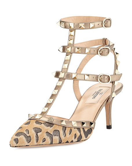 ValentinoRockstud Calf-Hair 65mm Pump, Fucile/Al Campion