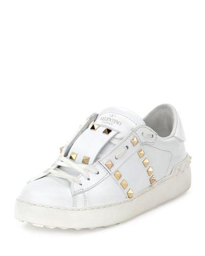 Rockstud Leather Low-Top Sneaker, Bianco