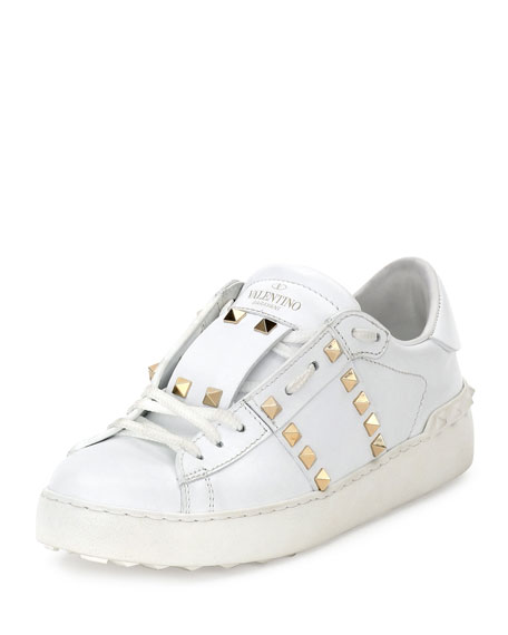 Rockstud Untitled Leather Sneakers, Bianco