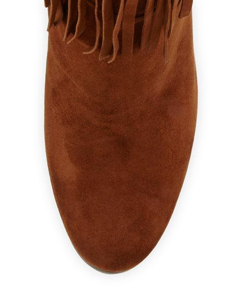 Fringie Fringe Suede Knee Boot, Walnut