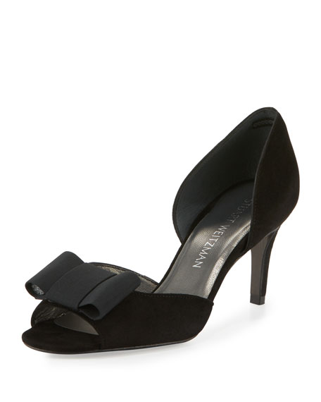 Stuart Weitzman Boatelle Bow Suede Pump, Black