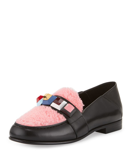Fendi Convertible Studded Shearling Moccasin, Black/Bubble Gum