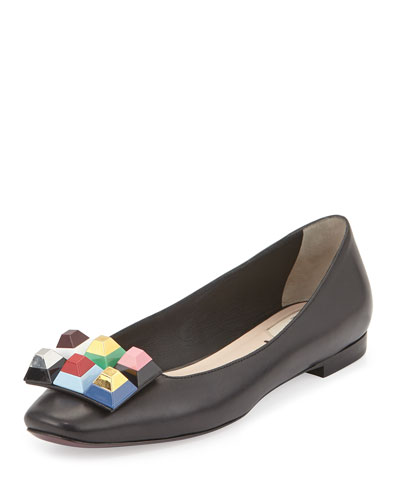 Rainbow Studded Leather Skimmer Flat, Black/Multi