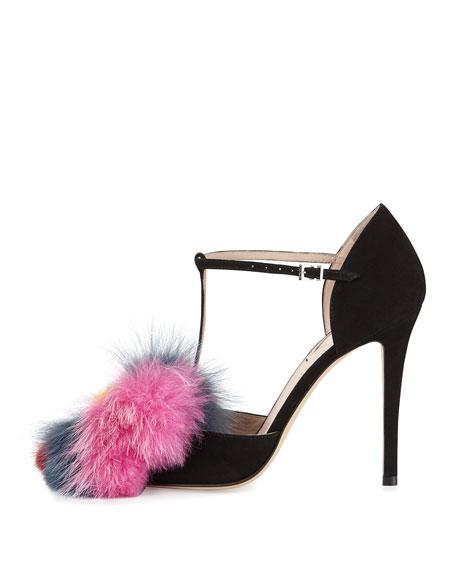 Mink & Fox Fur 110mm T-Strap Sandal, Black/Multi