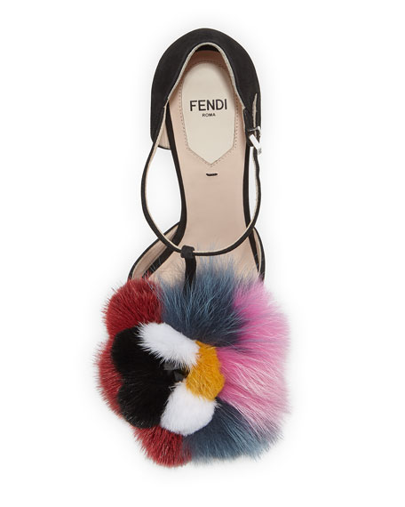 Mink & Fox Fur 110mm T-Strap Sandal, Black/Multi