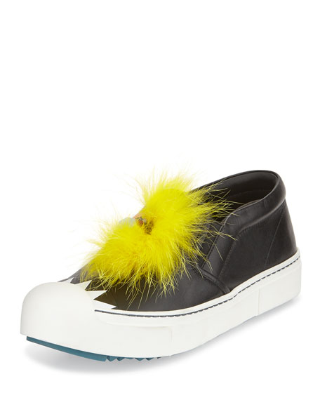 FendiBug Fur & Snakeskin Skate Sneaker, Black/Yellow