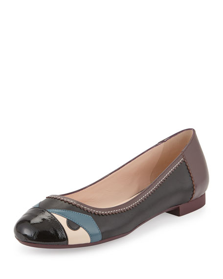 FENDI Bug Monster Cap-Toe Ballerina Flat, Black/Peony/Peacock