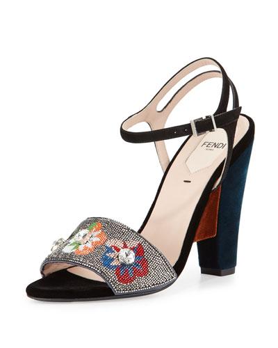 Fantasia Floral-Beaded Velvet Sandal, Gray/Multi