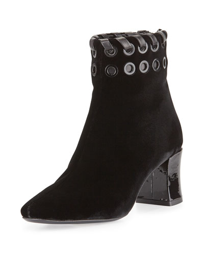 Studded Velvet Whipstitch Bootie, Black