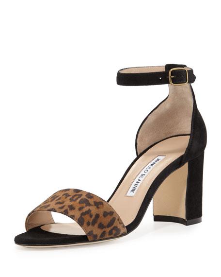 Manolo Blahnik Lauratomod Suede Ankle-Wrap Sandal, Leopardino/Black