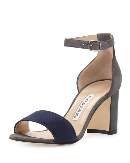 Lauratomod Suede Ankle-Wrap Sandal, Gray/Navy