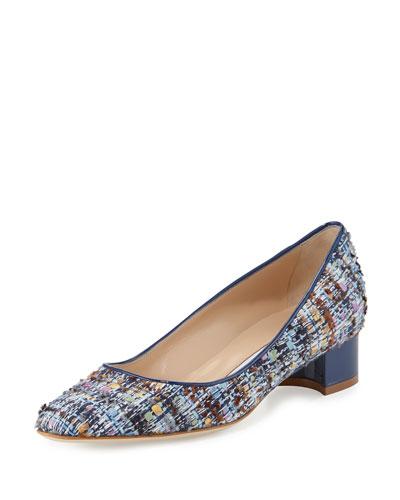 Listony Tweed Low-Heel Pump, Blue/Multi