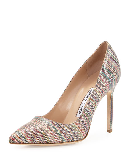 Manolo Blahnik BB Multi-Stripe 105mm Pump, Mexico Metallic