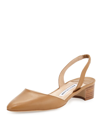 Aspro Sambra Leather Slingback Pump, Camel