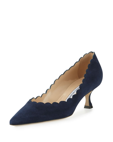 Manolo BlahnikSrilasca Scalloped Suede Pump, Navy