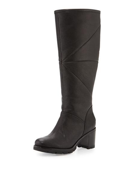 Avery Shearling Knee Boot, Black