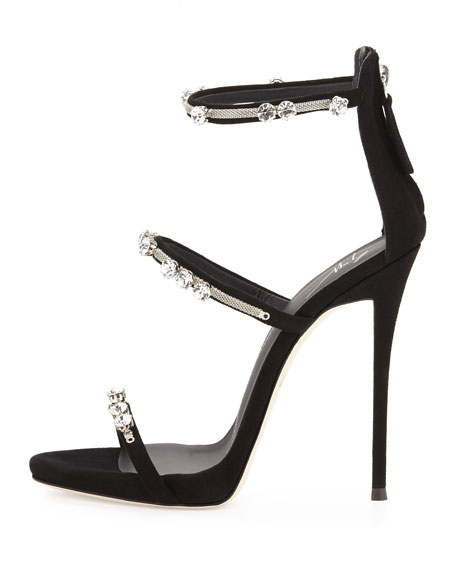 Coline Crystal Triple-Strap 110mm Sandal, Black