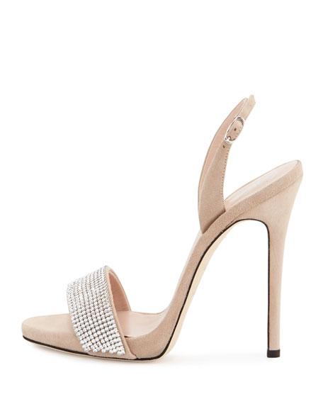 Coline Crystal 110mm Sandal, Pallido