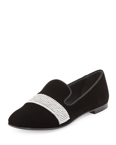 Giuseppe Zanotti Dalila Crystal-Band Velvet Smoking Slipper, Nero