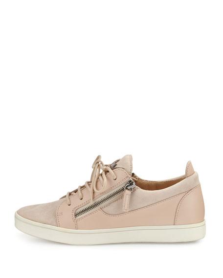 Breck Suede Side-Zip Sneaker, Pallido