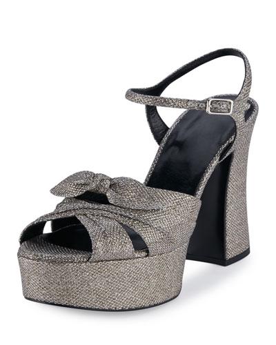 Candy Glitter Platform 125mm Sandal, Silver/Gold