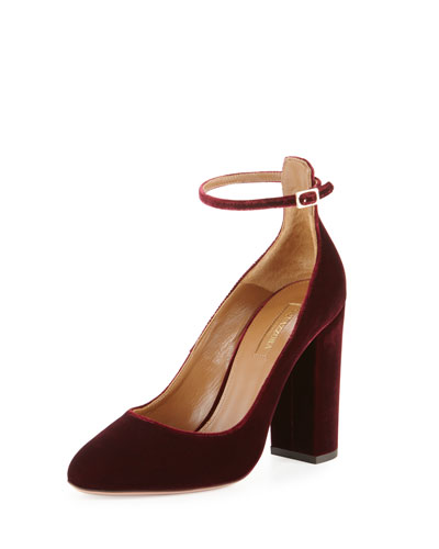 Alix Velvet 105mm Pump, Ruby Red