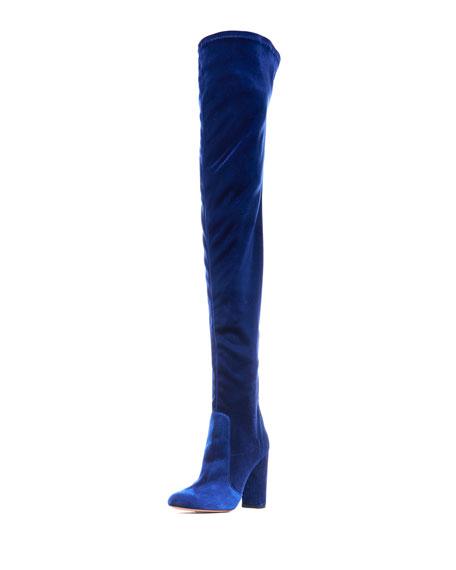 Aquazzura Velvet 105mm Thigh-High Boot, Midnight