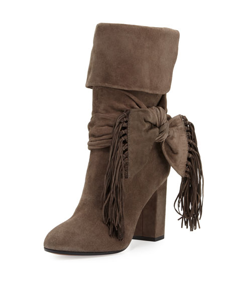 Aquazzura Fringe-Bow Suede 85mm Bootie, Urban Gray