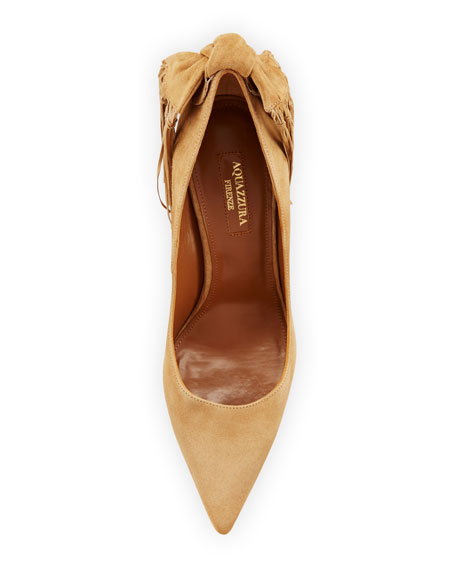 Image 3 of 3: Fringe Tie Suede 105mm Pump, Cappuccino