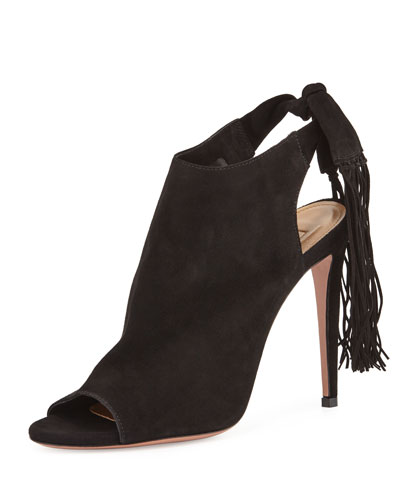 Suede Fringe 105mm Bootie, Black