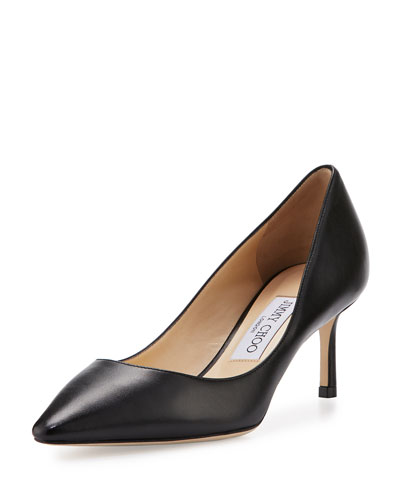 Romy Leather Pointed-Toe 60mm Pump, Black