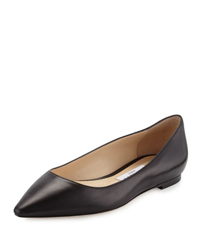 Romy Leather Ballerina Flat, Nude