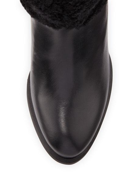 Ava Exposed-Fur Knee Boot, Black