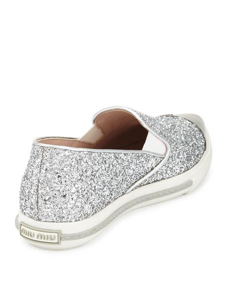 Glitter Cap-Toe Skate Sneaker, Argento