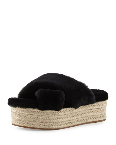 Shearling Crisscross Slide Sandal, Black