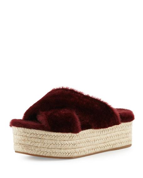 Shearling Crisscross Slide Sandal, Granato