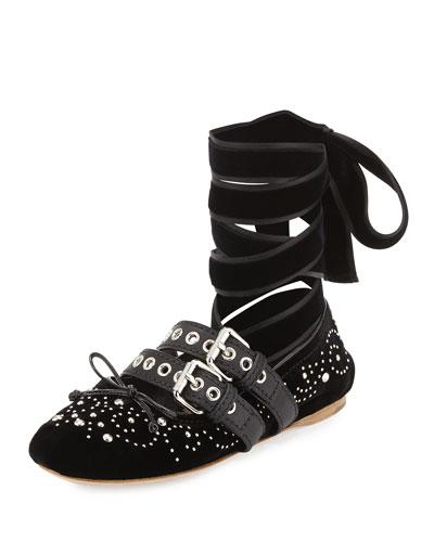Velvet Ankle-Wrap Ballerina Flat, Nero