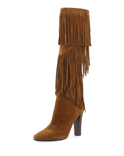Fringe Suede 95mm Knee Boot, Cigare