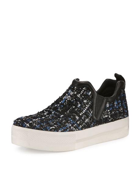 Ash Joy Tweed Platform Skate Sneaker, Black/Blue