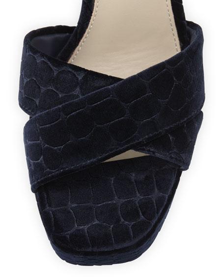 Boom Crocodile-Embossed Velvet Ankle-Wrap Sandal, Midnight