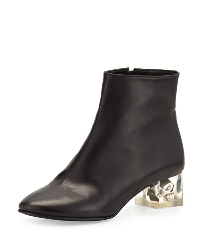 Leather Skull-Heel Ankle Boot, Black