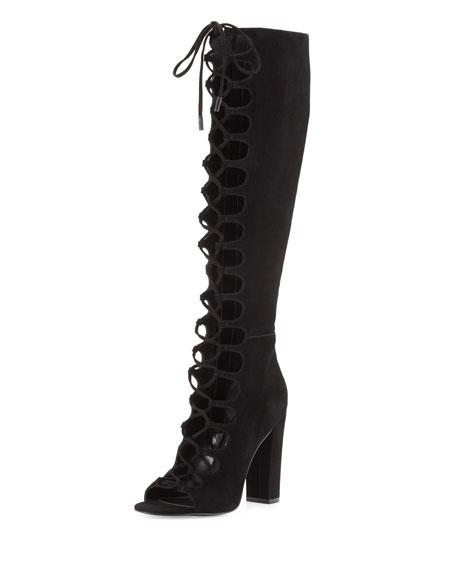Emma Gladiator Knee Boot, Black