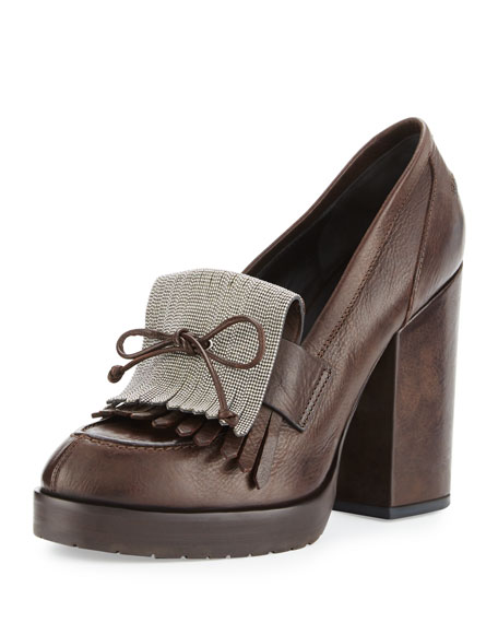 Brunello Cucinelli Monili-Kiltie Leather Pump, Brown