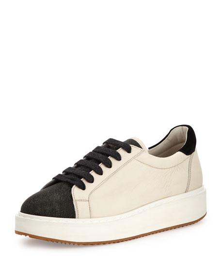 Brunello Cucinelli Monili/Leather Low-Top Sneaker, Dessert