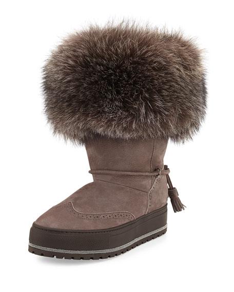 Brunello Cucinelli Fur-Trim Monili Ankle Boot, Mauve