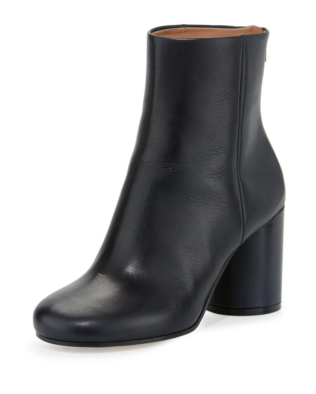 20de13067 Maison Margiela Leather Cone-Heel Ankle Boot, Navy | Neiman Marcus