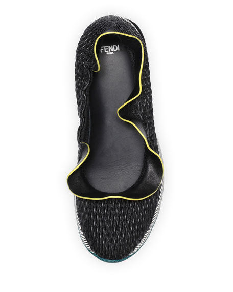 Ruffled Smocked-Leather Sneaker, Black/Gold