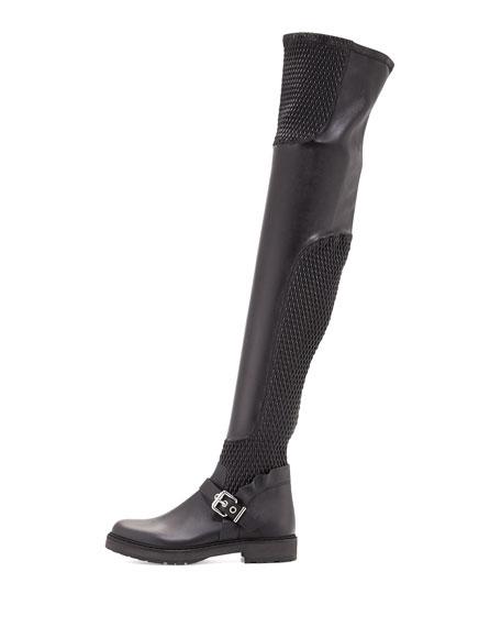 Fendi Smocked Leather Over-The-Knee Biker Boot, Nero