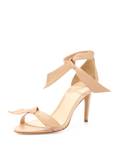 Leather Bow-Tie d'Orsay Sandal, Beige