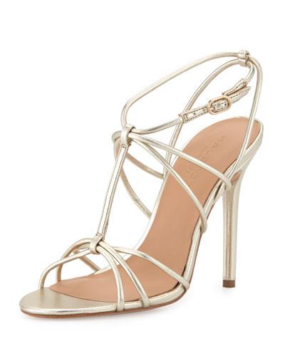 Anita Strappy Metallic Leather Sandal, Mirror Platinum